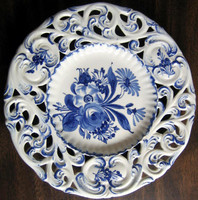 Blue on White Hand Painted Pierce Made in Italy Plate www.DecorativeDishes.net