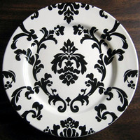 Black on White Damask Plate www.DecorativeDishes.net