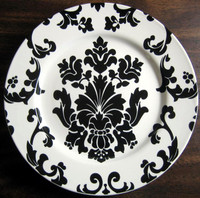 Black on White Damask Rosanna Plate www.DecorativeDishes.net