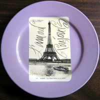 Lavender Eiffel Tower Postcard Plate www.DecorativeDishes.net