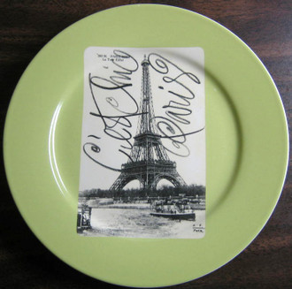 Green Eiffel Tower Postcard Plate www.DecorativeDishes.net