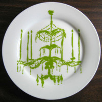 Green chandelier plate www.DecorativeDishes.net