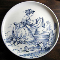 Italian Washer Woman Plate www.DecorativeDishes.net