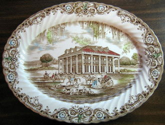 Southern Plantation Mansion Large Oval Platter www.DecorativeDishes.net