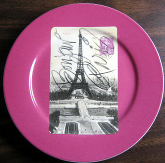 Magenta Eiffel Tower Plate www.DecorativeDishes.net