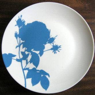 Soft Blue Rose Silhouette Plate www.DecorativeDishes.net
