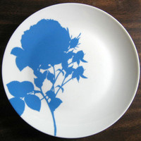 Soft Blue Silhouette Plate B www.DecorativeDishes.net