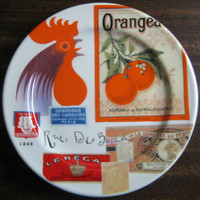 Rooster Vintage French Label Small plate www.DecorativeDishes.net