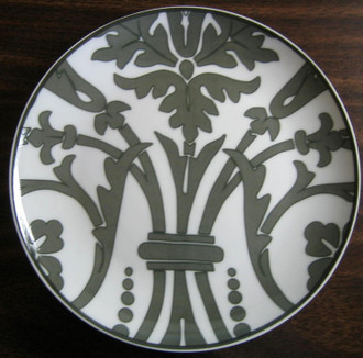 Gray damask wallpaper Rosanna plate www.DecorativeDishes.net