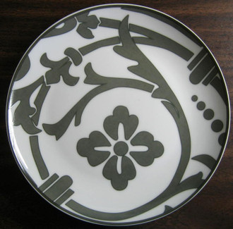 Gray on white Damask Couple Plate www.DecorativeDishes.net