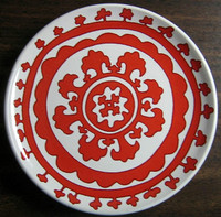 Red on white medallion plate www.DecorativeDishes.net