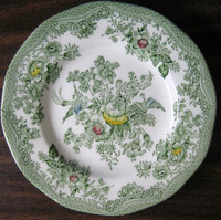 Green Toile Exotic Bird Plate www.DecorativeDishes.net