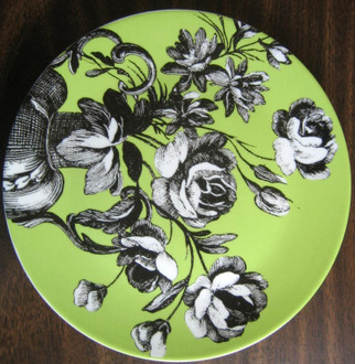 Green and black Fleur plate www.DecorativeDishe.net