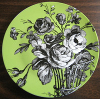 Green black Rosanna Fleur plate www.DecorativeDishes.net
