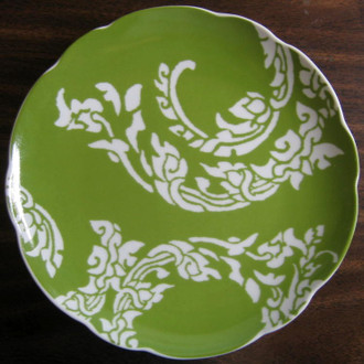 Green Paisley Plate www.DecorativeDishes.net