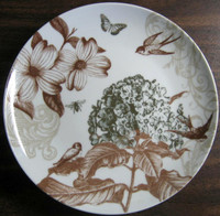 Sepia Brown Tan Botanical Birds Bee Blossom Shiny Gold Plate www.DecorativeDishes.net