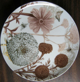 Sepia Taupe Brown Botanical Butterfly Bees Floral Shiny Gold Plate www.DecorativeDishes.net