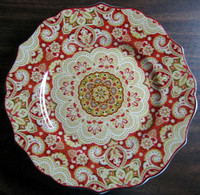 Decorative Plate - Exotic Red Gold Medallion Mehndi Paisley Medium Size www.DecorativeDishes.net