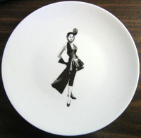 black and white fashion plate limoges france www.DecorativeDishes.net