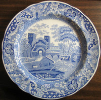 Blue Toile Transferware Exotic Plate www. DecorativeDishes.net