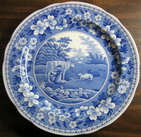 Blue Toile Transferware Milkmaid Cow Plate www. DecorativeDishes.net