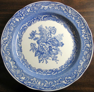Blue Transferware Rose Bouquet Plate www.DecorativeDishes.net
