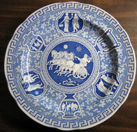 Blue Transferware Ancient Greece Motif Plate www. DecorativeDishes.net