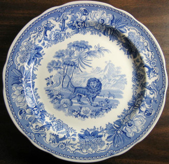 Blue Transferware Lion Fable Plate www.DecorativeDishes.net