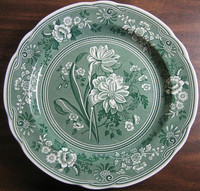 Hunter Green Toile Transferware Daffodil Exotic Plate www.DecorativeDishes.net