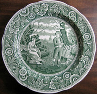 Hunter Green Toile Transferware Women Baby Calico Plate www.DecorativeDishes.net