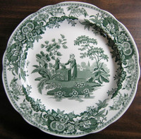 Hunter Green Toile Transferware Girl Calico Daisy Plate www.DecorativeDishes.net