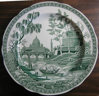 Hunter Green Toile Transferware Exotic Palm River Temple Plate www.DecorativeDishes.net