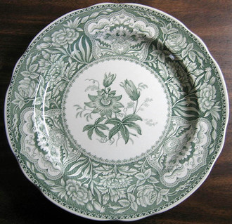 Hunter Green Toile Transferware Exotic Floral Plate www.DecorativeDishes.net