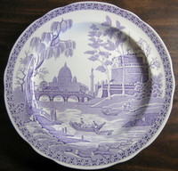 Lavender Purple Toile Transferware Exotic Palm River Temple Plate