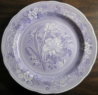 Lavender Purple Toile Transferware Daffodil Exotic Plate www.DecorativeDishes.net