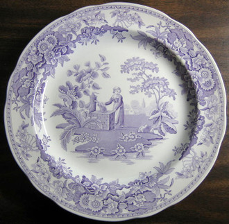 Lavender Purple Toile Transferware Girl Calico Daisy Plate www.DecorativeDishes.net