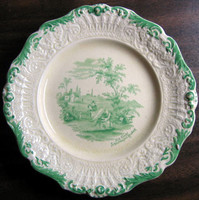 Antique Green Toile Medium Sized Plate www.DecorativeDishes.net