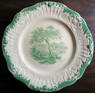 Antique Green Textured Edge Toile Plate www.DecorativeDishes.net