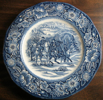 Cobalt Blue Toile Transferware Horses Snow Colonial Plate www.DecorativeDishes.net