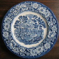 Cobalt Blue Toile Transferware Children Pony Cart Colonial Small Plate
