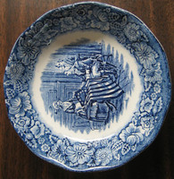 Cobalt Blue Toile Transferware Betsy Ross Flag Tiny Bowl Trinket Dish www.DecorativeDishes.net