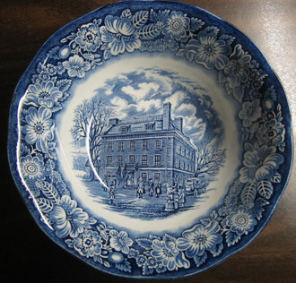 Cobalt Blue Toile Transferware Colonial Tavern NYC Large Bowl www.DecorativeDishes.net