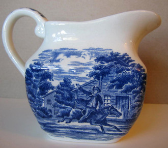 Cobalt Blue Toile Transferware Paul Revere Small Pitcher www.DecorativeDishes.net