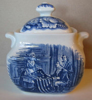Cobalt Blue Toile Transferware Betsy Ross Small Lidded Bowl www.DecorativeDishes.net
