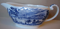 Cobalt Blue Toile Transferware Colonial Harbor Long Pitcher