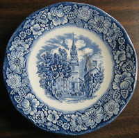 Cobalt Blue Toile Transferware Colonial Small Dish Candle Holder