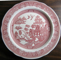 Pink Red Chinoiserie Exotic Bird Willow Plate