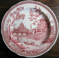 Pink Red Toile Transferware Exotic Palm River Temple Plate