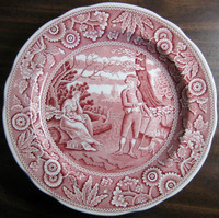 Red Pink Toile Transferware Women Baby Calico Plate www.DecorativeDishes.net