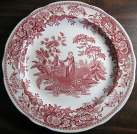 Red Pink Toile Transferware Girl Calico Daisy Plate www.DecorativeDishes.net